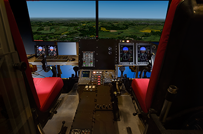 Inside a flight safety simulator.
