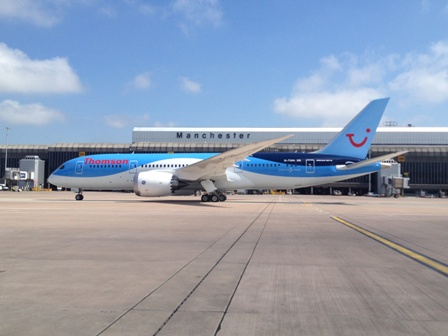 The first Boeing 787 Dreamliner for a UK airline, Thomson Airways G-TUIA
