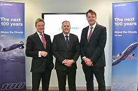 Sir Michael Arthur (left), president of Boeing UK & Ireland joins Harry Ayubi (centre) the director at BCASEL and David Pitchforth (right) managing director of Boeing Defence UK Ltd